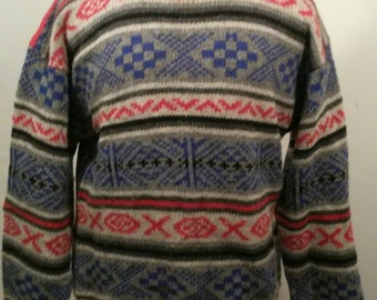 Mens wool sweater,large,Lord & Taylor , Men's , 100% Shetland Wool , Pullover Sweater, Indian  Design, Red ,Blue , Grey , Black
