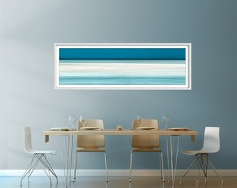 Large coastal artwork, beach canvas large, teal, large beach panorama, extra large wall art, seascape canvas, landscape panoramic, panorama