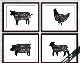 Beef, Chicken, Lamb and Pork (Butcher Diagram Series) - Set of 4 - Art Prints (Featured in Vintage Chalkboard and White) Kitchen Prints