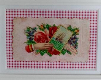 Vintage floral Victorian trade card. Framed