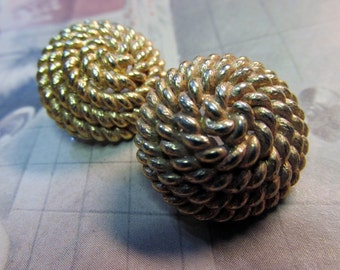 Vintage ®MONET Gold Tone Round Twisted Rope Design Post Pierced Earrings