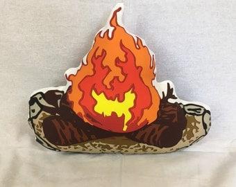 Campfire plush decorative pillow