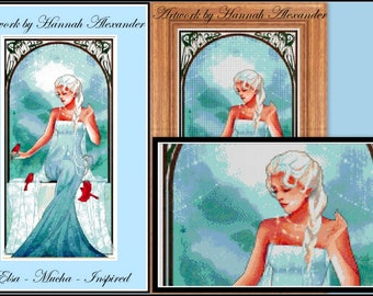 Elsa - Mucha-inspired - Artwork by Hannah Alexander - cross stitch pattern - PDF pattern - Instant download!