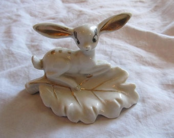 Small Spotted Big Eared Deer Fawn and Leaf Figurine Little Tray Dish