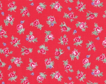 Sale - Lecien Flower Sugar Spring 2015, Small Roses on Red, Half Yard, Japanese Fabric 31131 30