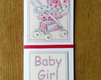 Baby Girl Card * New Baby Card * New Baby Girl Card * Handmade Card * New Arrival Card * Pink Baby Card * Pink Baby Girl Card * Baby Shower