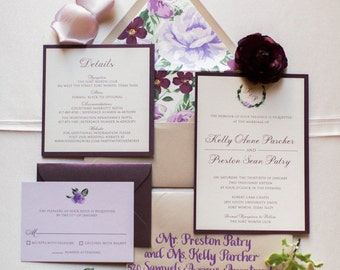 5x7 Purple Lavender Lilac Floral Wedding Invitation Suite with Details Insert, RSVP & Envelope Liner