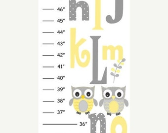 ON SALE MEGA Sale Personalized Yellow Gray Owl v1 Canvas Growth Chart