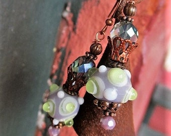 Raised Green Dots, Bumpy Lampwork Vintage / Fairy   Earrings, Handmade