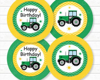 Tractor Cupcake Toppers , Tractor stickers, Tractor birthday, Tractor party, Printable, INSTANT DOWNLOAD