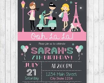 Paris Birthday Invitation, Paris Invite, Paris Party, Paris Girls, Digital Printable Invitation
