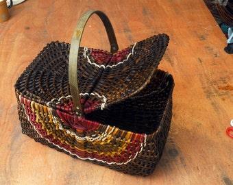 Picnic basket, gathering basket,  Wicker picnic basket, Personalized picnic basket,  Woven Basket, Boyfriend gift