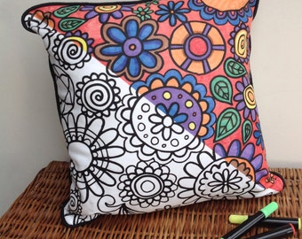 Colour In Cushion Flower Design Doodle Art Fabric Permanent Pens Adult Colouring Fun Activity Colourful Design Both Sides Hours Of Fun