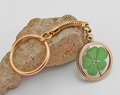 Gold Charm Keychain with a Real Genuine Five Leaf Clover - GK-5J