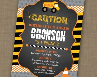 INSTANT DOWNLOAD! Editable // Printable // Construction Birthday Party Invitation // 1st Birthday // Boys Birthday Invitation
