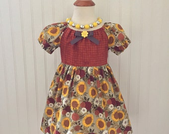 Girls apron dress Girls fall dress Size 3t dress Girls Thanksgiving dress Girls peasant dress Girls dresses Ready to ship