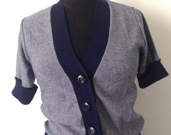Short-sleeved vest, 70s, thin stripes, blue, white, marine-style, small size