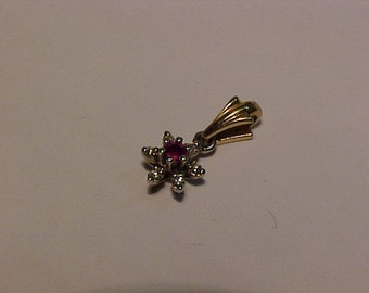 10k gold-6 diamond & Ruby pendant/charm.Ship to continental USA or Canada