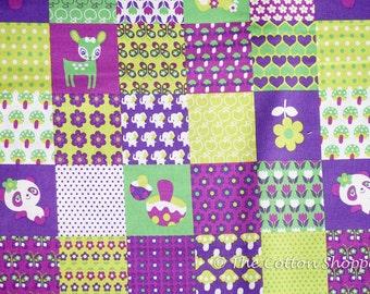 Kokka Fabric ~ Japanese Fabric ~ Animals Fabric ~ Panda Fabric ~ Deer Fabric ~ Purple Green Quilt Fabric ~Apparel Fabric ~ Home Decor Fabric