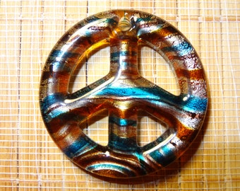 Lampwork Peace Sign Pendant Bead
