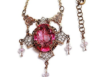Pink Crystal Necklace, Brass Cross Necklace with Vintage Pink Crystal, Fantasy Jewelry, Filigree Cross, Crystal Necklaces, Elegant Jewelry