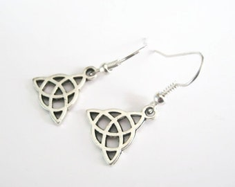 Triquetra Silver Celtic knot earrings,Irish knot/Trinity/Ireland/Scottish/Scotland/ Charmed/Outlander/St.Patrick'sDay