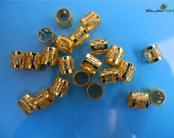 50 Golden Dreadlock Beads Adjustable Hair Braid Filigree Cuff Clip 8mm Hole