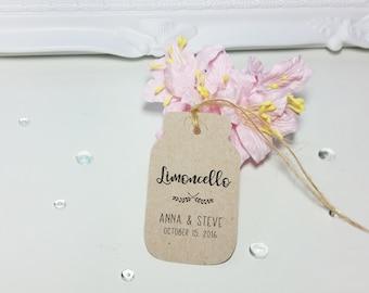 Limoncello Favor Tags, Mason Jar Hangtags, Custom Name Wedding Favor Gift Tags, set of 24
