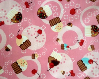 One Half Yard of Fabric Material - Tossed Cupcakes