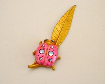 Vintage Pink and golden ladybug leaf letter opener