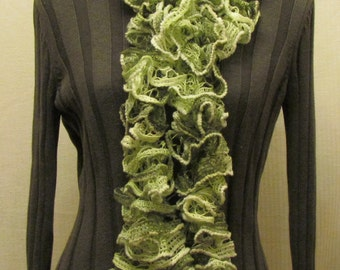 Patons Spring Green knitted ruffled scarf - variegated green and white scarf