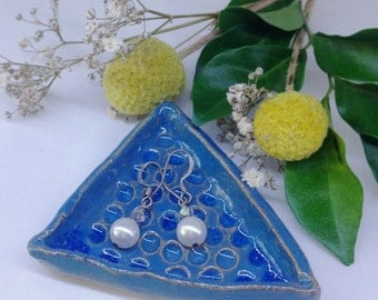 Blue Triangle jewellery dish | handmade | ceramic