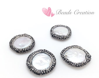 Lot x 10, 24x24mm Large Coin FRESH WATER PEARL Pave Side-drilled Beads , Pave Crystal Freshwater Pearl Bead, Wholesales