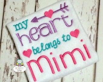 My Heart Belongs to Mimi Shirt or Bodysuit, Heart Belongs to Mimi Valentine Shirt, Valentine Shirt, Love Shirt, Girl Valentine Shirt