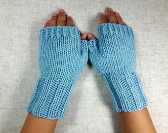 Fingerless Gloves for Kids, mint, 4 to 6 years, wool merino, mittens pastel