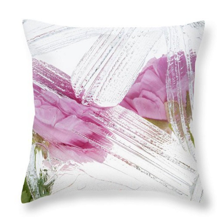 Botanical Pink White Throw Pillow Cover Accent Pink Flowers
