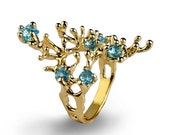SALE 20% Off - REEF Gold Blue Topaz Ring, Gemstone Ring, Gold Statement Ring, Organic Ring, Blue Topaz Engagement Ring