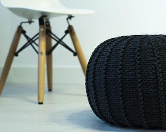 Graphite cotton floor pouf ottoman knitted pouf knit pouf nursery decor, knitted ottoman footstool nursery pouffe baby pouffe ZURI