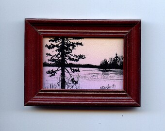 ACRYLIC-ORIGINAL MINIATURE acrylic painting,wood frame, sunrise lake scene,trees in silhouette,  2.75 x 3.5 inches Canadian art,