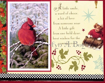 MY CHRISTMAS Cards - HAND Made; set of four, free shipping, 5 x 7 inch, with envelopes, blank inside, bird collages, from original art,