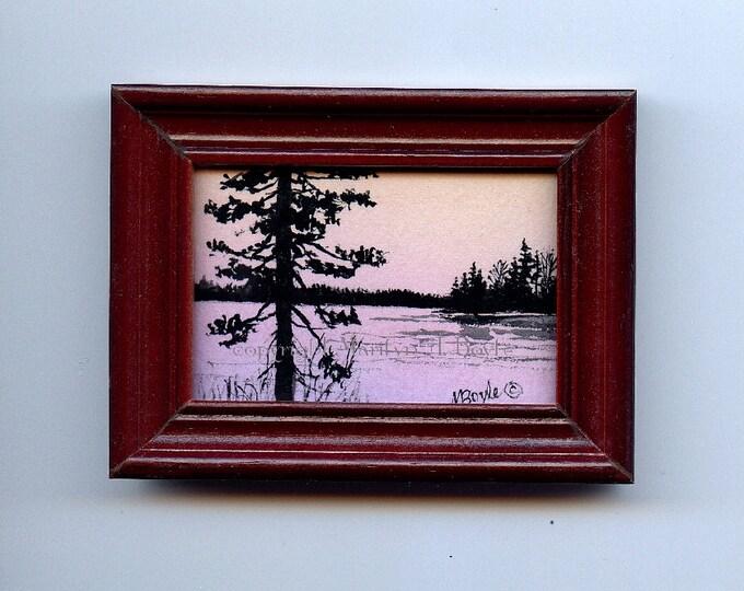 ACRYLIC-ORIGINAL MINIATURE acrylic painting,wood frame, sunrise lake scene,trees in silhouette,  2.75 x 3.5 inches Canadian art,