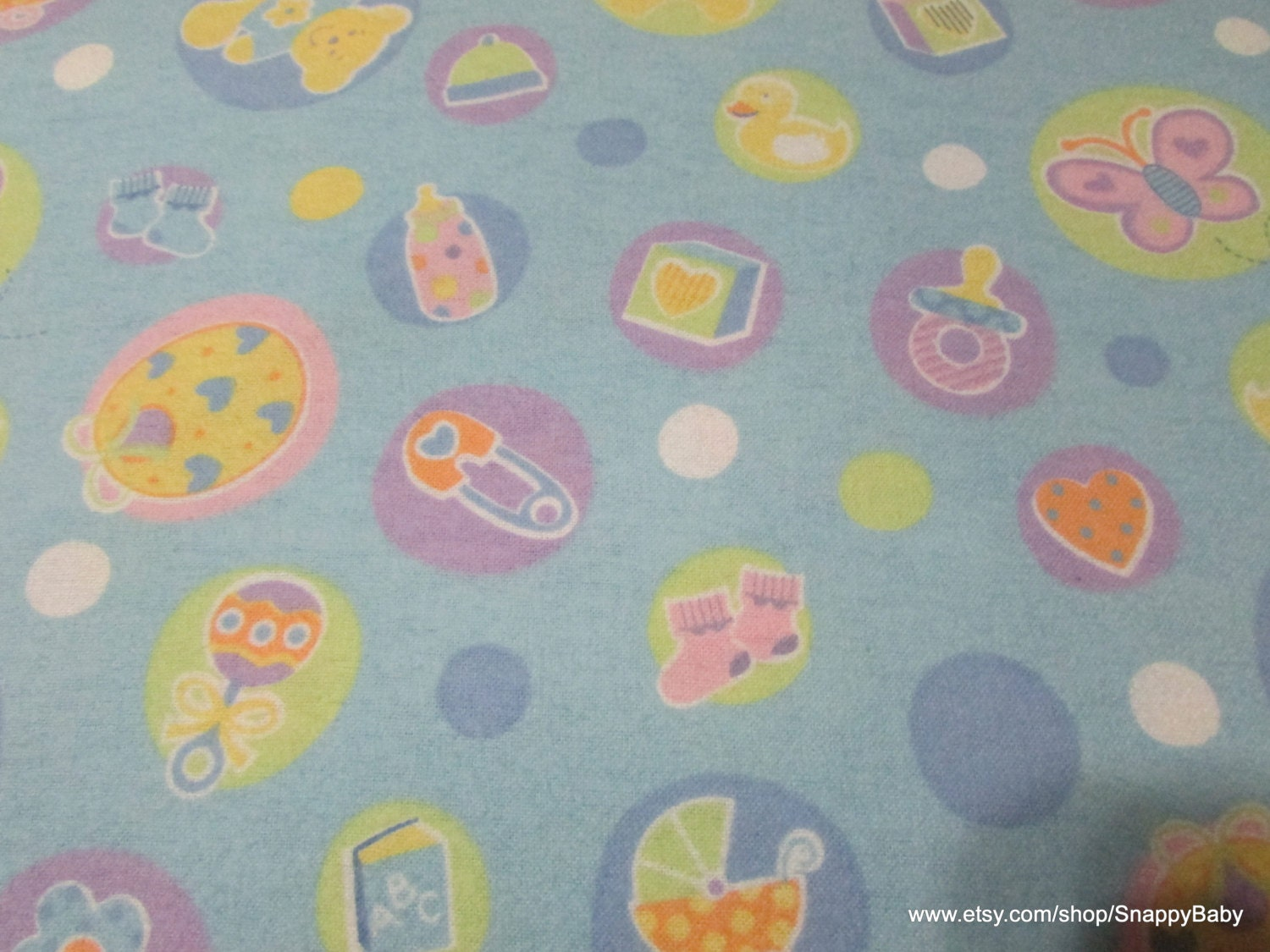 Flannel fabric welcome baby blue 1 yard 100 cotton for Baby fabric by the yard