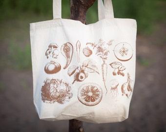 Vintage Veggies Tote Bag | Shoulder Bag Plants Farmers Market Vegetables Garden Organic Recycled Canvas Science Gardener Fruit Botany Reuse