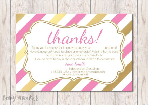 Direct Sales Thank You Card Pink and Gold Stripes