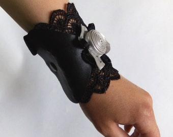 Bracelet wallet pocket Female purse Leather wallets Black Silver Woman Cuff wrist wallet Gifts for her
