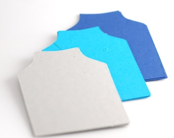 Necklace cards, Blank chain cards, Pendant cards, Jewelry display cards, Necklace display cards blue and grey cardstock paper