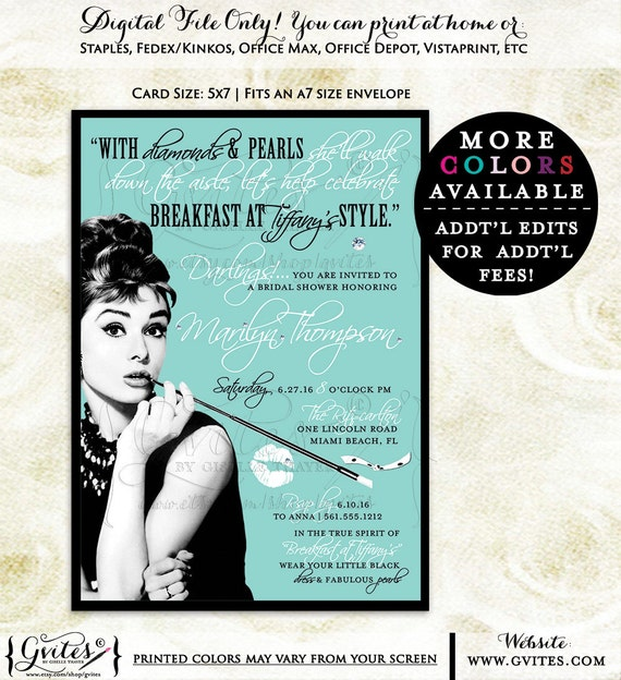Printable Audrey Hepburn Bridal Shower, bachelorette, bridal shower, lingerie, wedding, birthdays, breakfast at bridal theme shower digital.