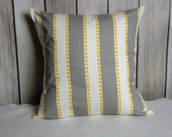 Stripe Pillow. Pillow Cover. Grey Pillow. Grey Yellow Pillow. Yellow Pillow
