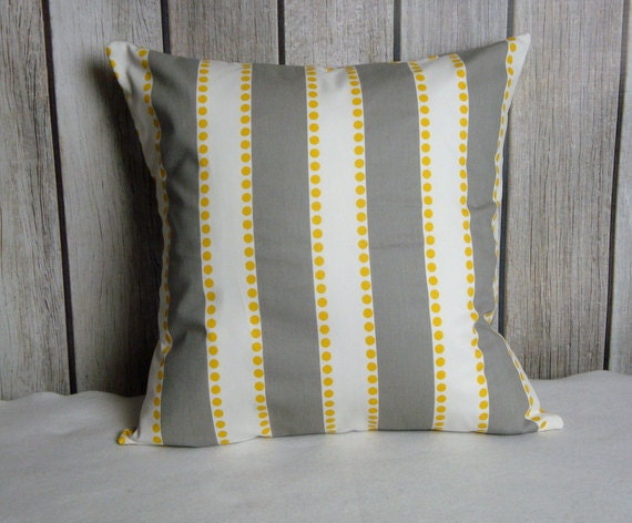 Stripe Pillow. Pillow Cover. Grey Pillow. Grey Yellow Pillow. Yellow Pillow