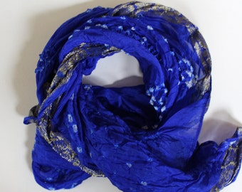 Blue silk scarf - silk tie dye scarves - mayil scarves - unique scarves - handmade - colorful gift - cobalt blue scarf - gift for her